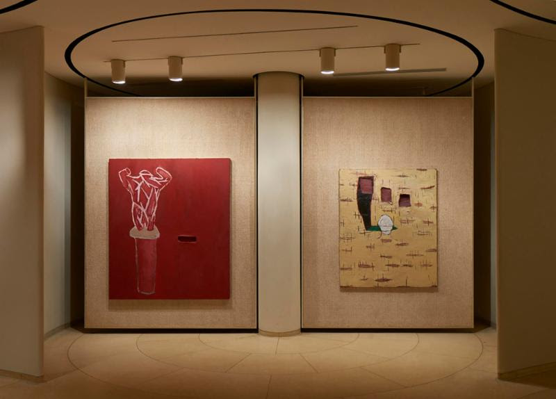 """From left, """"Accattone, 1978'' (oil wax, modeling paste on canvas). Right: """"Jack the Bellboy / A Season in Hell, 1975'' (joint compound, Rhoplex, oil, plaster, wire mesh on canvas), by Julian Schnabel. in the show """"Wax Paintings from the 1970s,'' at the Glass House Museum, New Canaan, Conn,. through June 5. (The celebrated Glass House, with its,yes, its glass exterior walls, was designed by the late famous Modernist architect Philip Johnson in a bucolic setting in a rich New York City suburb.    -- Photo by Andy Romer"""