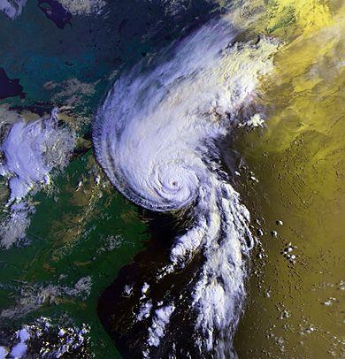 Hurricane Bob approaching New England on Aug. 19, 1991.