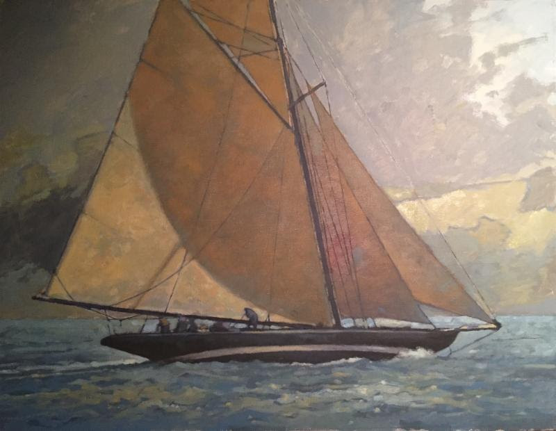 """""""Golden Cutter'' (oil), by Gary Davis, in the show """"At Sea: National Maritime Show,'' at the Copley Society of Art, Boston, through July 3."""