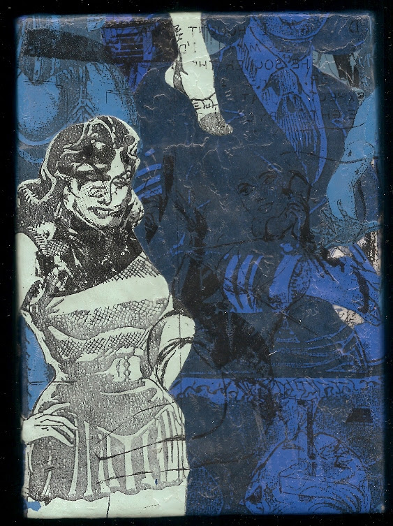 """""""19 Kimball'' (mixed media on wood panel) by Sam Earle, in his show """"Pulp,'' at Adelson Galleries, Boston, June 2-July 30."""