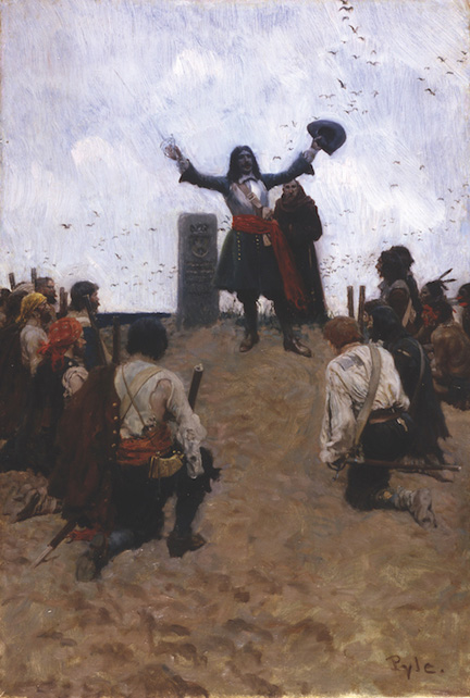 """La Salle Christening the Country 'Louisiana' '' (oil on canvas, 1905), by Howard Pyle, in the current show ""Howard Pyle, His Students & the Golden Age of American Illustration,'' at the National Museum of American Illustration, Newport, R.I.    Copyright 2017 National Museum of American Illustration, Newport, R.I. Photo courtesy American Illustrators Gallery, New York, N.Y."