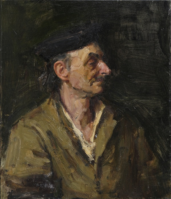 """""""Portrait of an Old Man'' (oil on linen), by Ruzanna Teterina,in the current show """"Young Russian Artists'' at the Dedee Shattuck Gallery, Westport, Mass."""