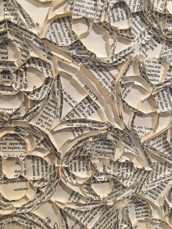 """""""The Emersonian Rose'' (cut and folded book pages), by Greg Lookerse, in his show """"Literary Soil,'' at the Fruitlands Museum, Harvard, Mass. The exhibition refers to the shared cultural tradition of the Transcendentalists and the museum."""