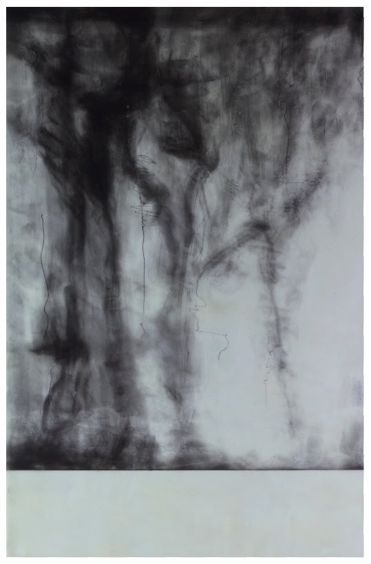 """""""Silent Shadows'' (graphite and wax on aluminum), by Munira Naqui, in show at Corey Daniels Gallery, Wells, Maine, July 1-29. The gallery says Naqui's work """"creates seductive, ethereal compositions that encourage a slowing down into stillness and reflection.''"""