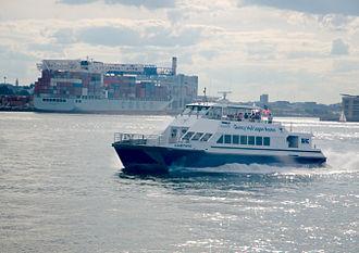 MBTA commuter boat in Boston Harbor.