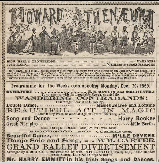 """An ad for what came to be known as """"The Old Howard,'' which from time to time featured risque acts, including strippers, and in whose neighborhood were numerous sin-laden establishments."""