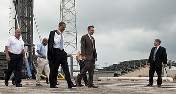 Elon Musk and then President Obama at the Falcon 9 launch site in 2010.
