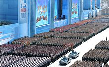 Russia troops march in 2015 military parade in Moscow.