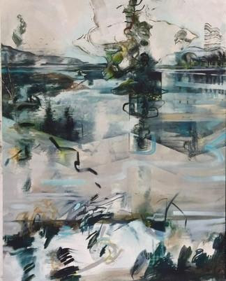 """Breath and Murmurs'' (diptych -- images should actually be side by side -- oil on canvas), in her show ""Breath And Murmurs,'' at Atelier Newport  (Newport, R.I.) Oct, 1-Nov. 4."
