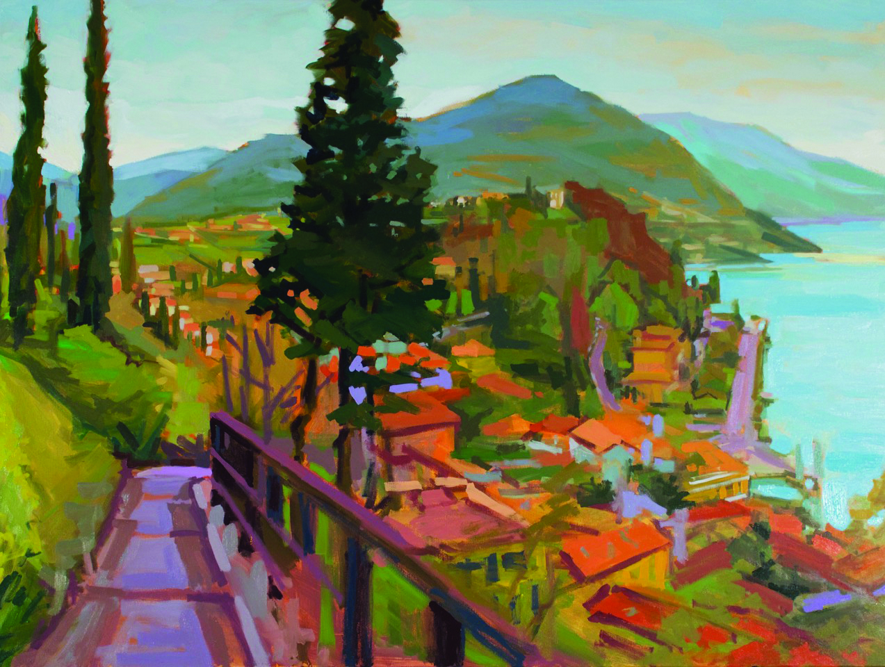 "'Bellagio Stroll'' (oil on canvas), by Nick Paciorek, in the group show ""Land, Sea,  Sky,'' at Art Prov Gallery, Providence, Sept. 16-Nov. 4. The gallery says the works of the artists in the show ""depict both the majesty of the natural world and its solitude through the use of shape, texture, color and light.''"