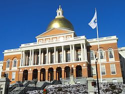 The famous Massachusetts State House, designed by Charles Bullfinch and completed in 1798.