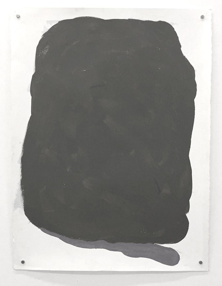 """""""Erratic 4 Untitled'' (acrylic on paper), by Mira Cantor, in her show """"Erratics, works on paper by Mira Cantor,'' at Kingston Gallery, Boston, Nov. 1-26 .  The show is inspired by the forms of the same name created by the Ice Age and found all over New England, virtually all of which wascovered by ice 15,000 to 20,000 years ago. Ms.Cantor told the gallery:""""These erratics are palpable forms of energy, eroding in slow motion."""""""