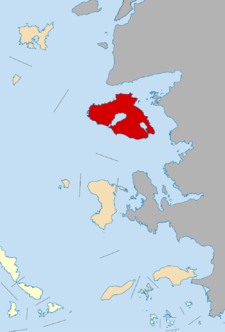 Lesbos (in red), right off the Turkish coast.