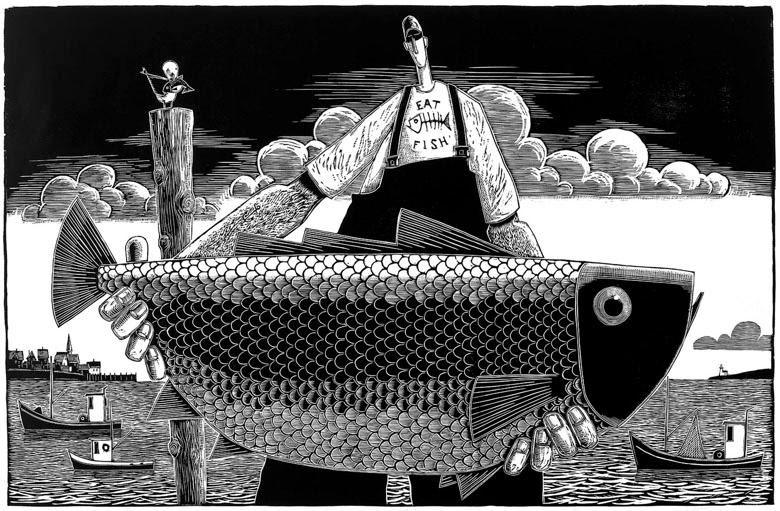 """""""Lyell'' (woodcut), by David Whitbeck, in the show """"BIG INK: Large-Scale Prints From the Woodcut Revolution,'' at the Brickbottom Gallery, Somerville, Mass., Dec. 7-Jan. 13."""