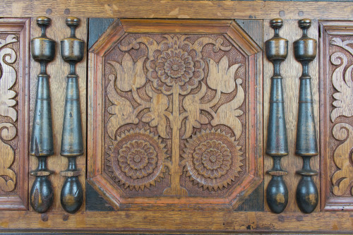 """""""Window to the Past'' (wall carving of American linden, mahogany, butternut, Douglas fir,   black   walnut), by Daniel Faia, of Wakefield, N.H., in the current show """"Conversations in Craft: Furniture from The Trustees Collection & North Bennet Street School Artisans,'' at the Fruitlands Museum, Harvard, Mass."""