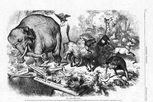 An 1874 cartoon by Thomas Nast in Harper's Weekly.