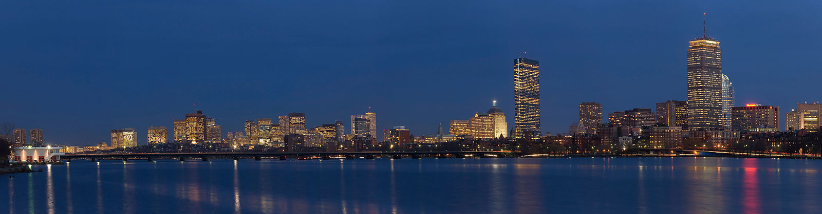 The Boston skyline from across the Charles River in Cambridge.