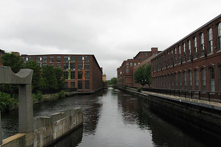 19th Century mill buildings on the Pawtucket Canal, in Lowell.