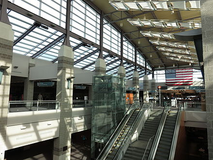 In the T.F. Green Airport terminal.