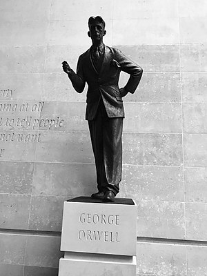 """At the headquarters of the  BBC , in London. The wall behind the statue is inscribed with the words """"If liberty means anything at all, it means the right to tell people what they do not want to hear"""", words from Orwell's proposed preface to  Animal Farm."""