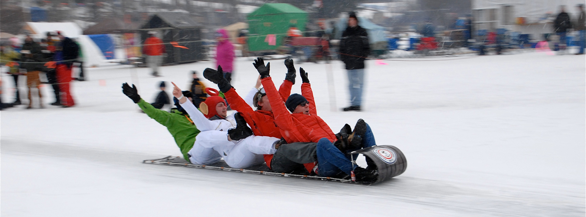 At the U.S. National Toboggan Championships, in Camden, Maine.