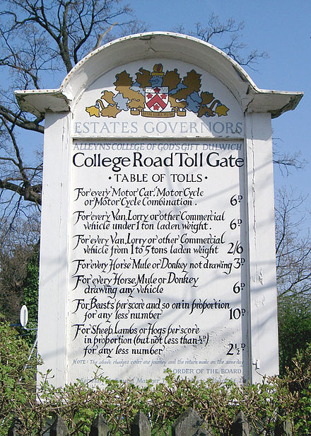 A table of tolls in pre-decimal currency for the  College Road, Dulwich , London.