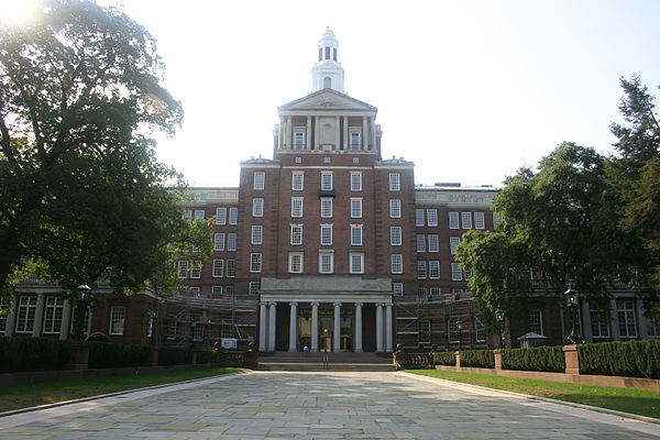The Aetna headquarters building, in Hartford, designed by renowned architect  James Gamble Rogers , is the world's largest Colonial Revival Building. It was finished in 1931.