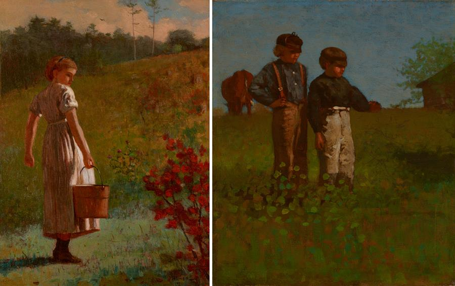 """Right, """"Young Farmers (Study for Weaning the Calf)''  (oil on canvas), painted in 1873-74,and, left, """"Returning from the Spring'' (oil on panel), painted in 1874, both by Winslow Homer (1836-1910), at the Portland Museum of Art."""