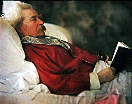 Mark Twain photographed in 1908 via the  Autochrome Lumiere process.