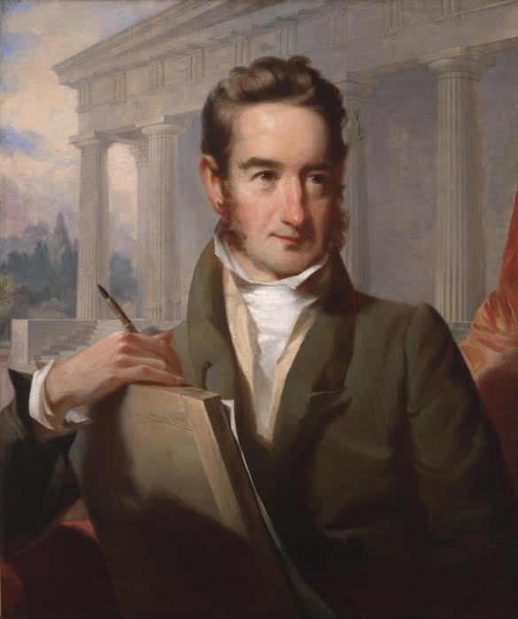 William Strickland, by John Neagle, 1829, with Second Bank of the United States in the background.    -- Courtesy, Yale University Art Gallery.