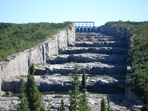 The spillway at Hydro-Quebec's  Robert-Bourassa generating station can deal with a water flow twice as large as the Saint Lawrence River.