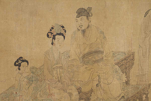 """""""Ming Huang and Yang Gueifei Listening to Music"""" (detail, ink and light color on silk; early Ming (Chinese) Dynasty), in the show """"Dangerous Liaisons,'' at the Worcester Art Museum through April 22 .   The show's curator writes:  """"The exhibition is centered around the museum's Ming period handscroll painting titled """"Ming Huang and Yang Guifei Listening to Music.""""The Tang Dynasty emperor, Ming Huang, ruled from 712-756 and his fateful love affair with and marriage to the young consort, Yang Guifie, became an enduring tale of love and tragedy.''  Through the centuries this tale has captivated poets as well as other writers and visual artists in both China and Japan.""""Dangerous Liaisons Revisited""""examines the story's appeal through works from the 7th to the 21st Century; each offering a different interpretation of the event and exploring the Tang Dynasty itself, ''an era marked by imperial decadence and sensuality. ''"""