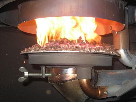 Heater using wood pellets.