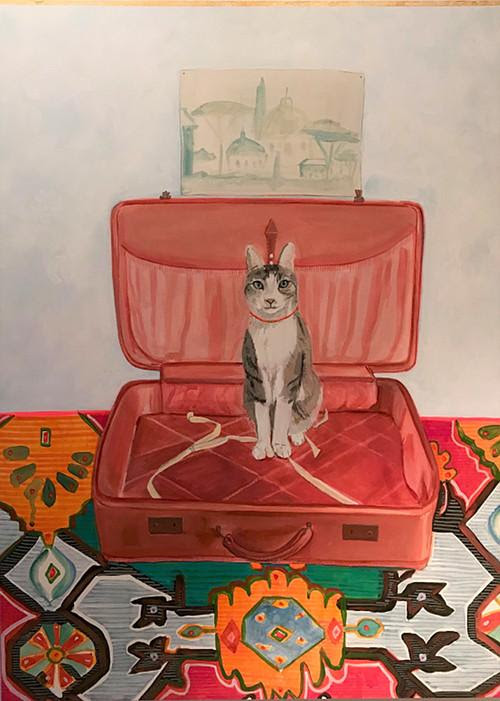 """""""One Day I'll Have a Cat and a Lover,'' by Candice Smith Corby, at the Fruitlands Museum, Harvard, Mass."""