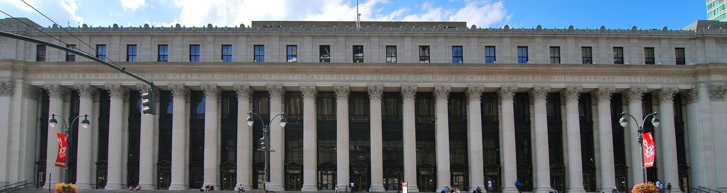 "Photo by Chensiyuan    Close up of the James A. Farley Post Office,  in Manhattan. Read the inscription over the columns:  "" Neither snow nor rain nor heat nor gloom of night stays these couriers from the swift completion of their appointed rounds''"