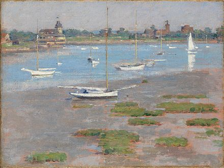 """""""Low Tide, Riverside {part of affluent Greenwich, Conn.}Yacht Club (1894)'' by Theodore Robinson."""