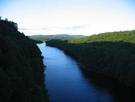 The Connecticut River, looking north from the  French King Bridge at the  Erving - Gill  (Mass.) town line.