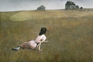 """""""Christina's World,'' Maine and Pennsylvania painter Andrew Wyeth's most famous painting. The building at the upper right is the Olson House, in Cushing, Maine.   's"""