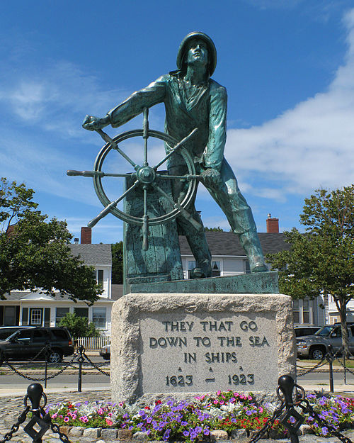 """Man at the Wheel'' memorial to fishermen in Gloucester, on Cape Ann."