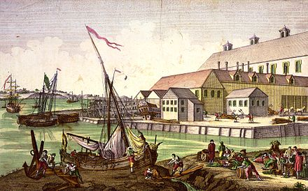 The Salem waterfront in the 1770s.