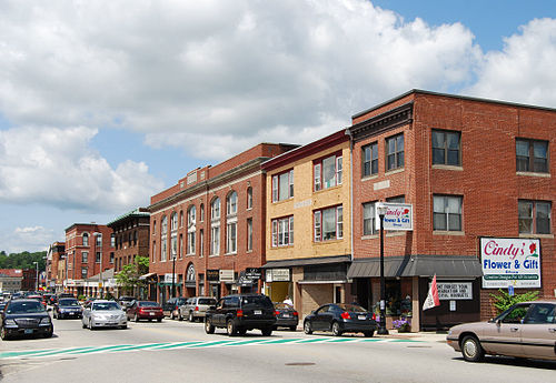 Typical New England Main Street, this one in Webster, Mass., an old factory town.