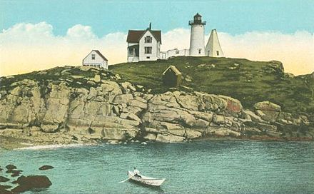 Cape Neddick Light (circa 1920), in York, Maine, where May Sarton lived in her last years, after moving from Nelson, N.H.