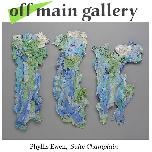 """This image is from Ms.Ewen's """"Flux & Flow'' show of """"dimensional landscapes"""" on archival pigment prints at the Off Main Gallery, in Wellfleet, on the Lower Cape, through Aug. 9. The """"Champlain'' is apparently a reference to Lake Champlain."""