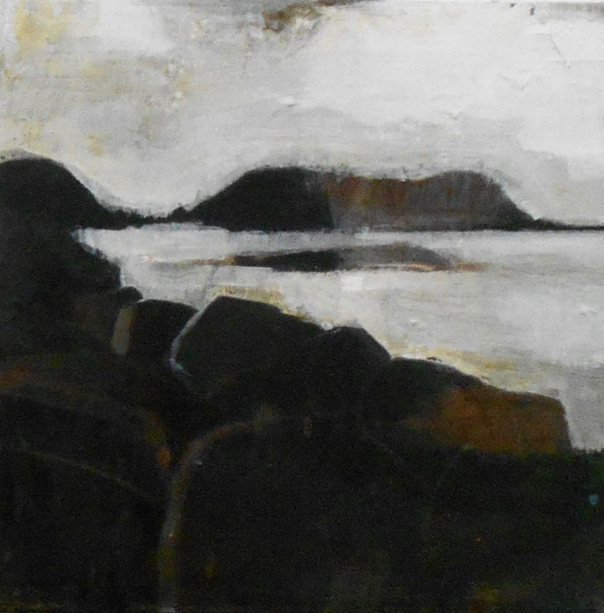 """""""""""Monhegan (Manana)"""" (mixed media on canvas), by Tom Hall, in his Aug. 11-Sept. 8 show at the Corey Daniels Gallery, Wells, Maine. The """"Monhegan"""" referenced is an island about 12 miles off the Maine Coast that's renowned as a art center and fishermen's harbor. For a, well, cheerier look at it, see the picture below."""