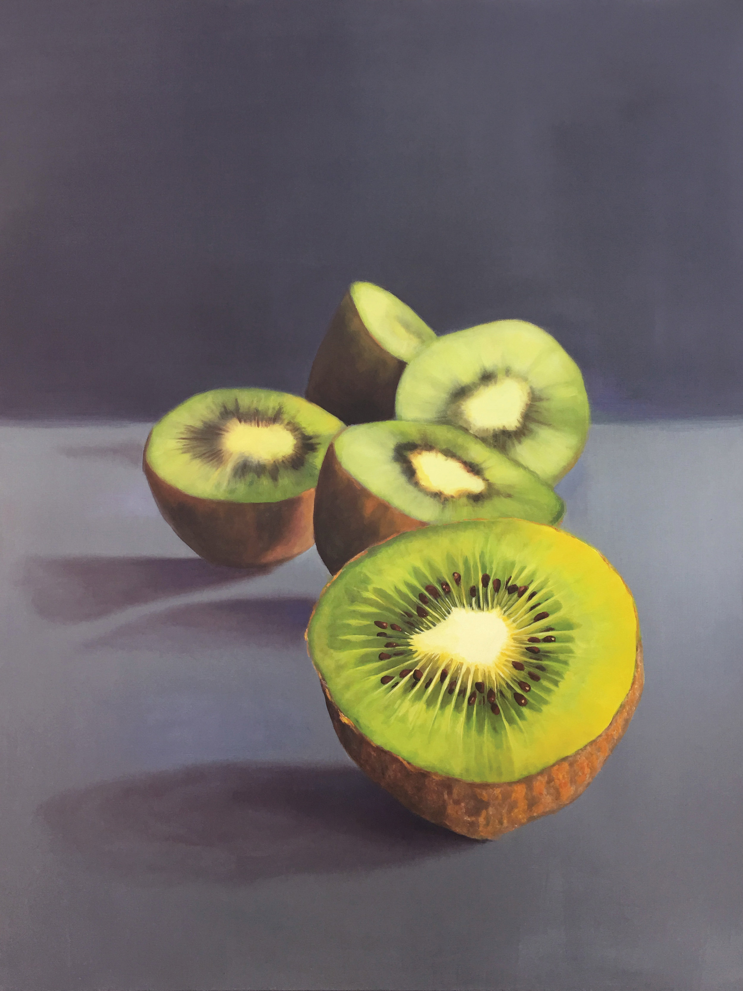 """Kiwi Rhythm'' (oil on canvas), by Sherie Harkins, in the ""Colorist'' group show at ArtProv Gallery, Providence, Aug. 8-Sept. 22."