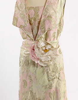 Gold and pink deco gown, circa 1930, silk brocade, rhinestones, metallic thread, Part of the Collection of the Stevens-Coolidge Place, in North Andover, Mass.
