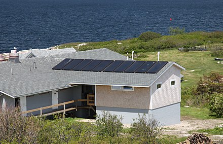 Solar hot water panels on the roof of the Shoals Marine Lab water- conservation building.