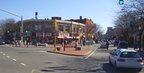 David Square in Somerville, Mass.