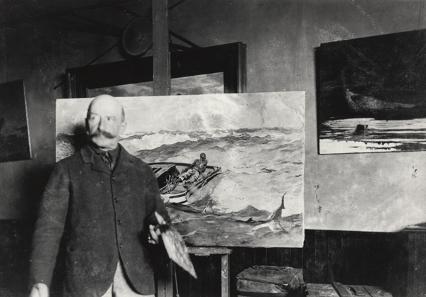 "Winslow Homer with 'The Gulf Stream' in his {Prouts Neck, Maine} studio,"" ca. 1900, (gelatin silver print), by an unidentified photographer.   The museum says:  ""This exhibition explores the question of Homer's relationship with the medium of photography and its impact on his artistic practice. As one attuned to appearances and how to represent them, Homer understood that photography, as a new technology of sight, had much to reveal. This exhibition thus adds an important new dimension to our appreciation of this pioneering American painter, demonstrating his recognition that photography did not undermine, but instead complemented his larger artistic interests.''"