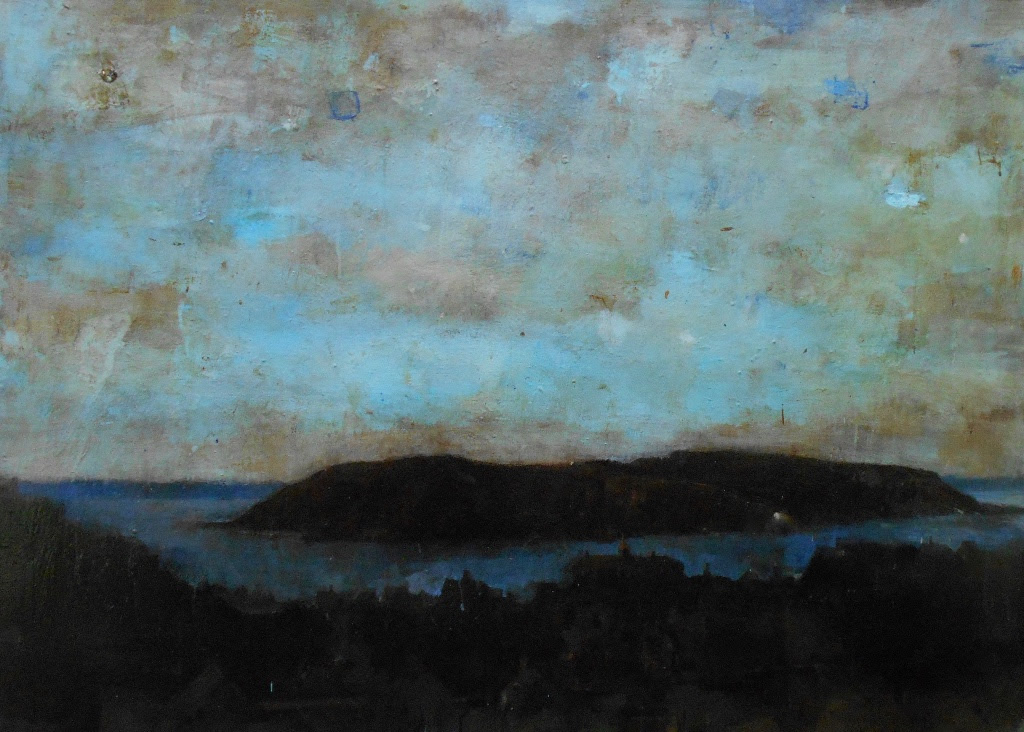 """"""" Mohegan (Manana Nocturne III)'' (mixed media on canvas), by Tom Hall, at the Corey Daniels Gallery, Wells, Maine .  Mohegan Island, off the Maine Coast, is famous as an artists colony."""